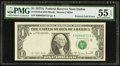 Error Notes:Foldovers, Printed Foldover Error Fr. 1910-K $1 1977A Federal Reserve Note.PMG About Uncirculated 55 EPQ.. ...