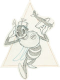 Animation Art:Production Drawing, Silly Symphony Bee World War II Insignia Art by Hank Porter (WaltDisney, c. 1940s). ...
