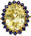 Estate Jewelry:Rings, Ceylon Yellow Sapphire, Sapphire, Gold Ring. ...
