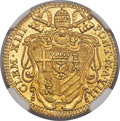 Italy:Papal States, Papal States. Clement XIII gold Zecchino 1766-VIII MS64 NG...