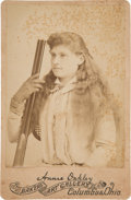 Western Expansion:Cowboy, Annie Oakley: Iconic Cabinet Card....