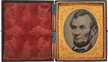 Political:Ferrotypes / Photo Badges (pre-1896), Abraham Lincoln: Cased Sixth Plate Tintype....