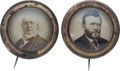 Political:Ferrotypes / Photo Badges (pre-1896), Horace Greeley and Ulysses S. Grant: Cardboard Photo Badges underGlass.... (Total: 2 Items)
