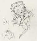 Animation Art:Production Drawing, Betty Boop Sketch by Grim Natwick (Max Fleischer, 1982)....