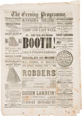 Political:Small Paper (pre-1896), John Wilkes Booth: 1863 Chicago Playbill Programme....
