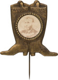 "Political:Ferrotypes / Photo Badges (pre-1896), Ulysses S. Grant: Cardboard ""Photo in Boots"" Stickpin...."