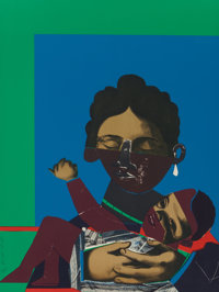 Romare Howard Bearden (American, 1911-1988) Mother and Child Screenprint and offset lithograph in co
