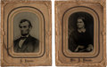 Political:Ferrotypes / Photo Badges (pre-1896), Abraham and Mary Todd Lincoln: Large Matching Tintypes.... (Total:2 Items)