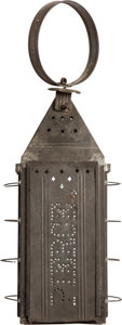 Political:3D & Other Display (pre-1896), Franklin Pierce: Glass and Punched Tin Lantern....