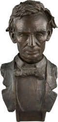 Political:3D & Other Display (1896-present), Abraham Lincoln: Life-size Bronze Bust by Louis Mayer....