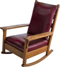 Furniture : American, A Gustav Stickley Oak and Faux Leather Rocking Chair, circa 1905.40-1/2 h x 29 w x 34-1/2 d inches (102.9 x 73.7 x 87.6 cm)...