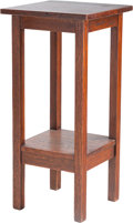 Furniture , A Gustav Stickley Oak Telephone Stand, circa 1910. Marks: (label adherred to the underside of the top). 30 h x 14 w x 14 d i...