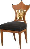 Furniture : Continental, A Viennese Biedermeier Chair Inset with Giltwood Eagle, 19thcentury. 36-1/8 h x 18-1/2 w x 18-1/2 d inches (91.8 x 47.0 x 4...