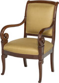 Furniture : French, A French Charles X Mahogany Armchair, early 19th century. 36 h x22-3/4 w x 20-1/2 d inches (91.4 x 57.8 x 52.1 cm). PROPE...