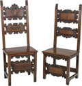 Furniture : French, Two Lombardian Maple and Walnut Post Chairs, 17th century or later.47-3/4 h x 20-1/4 w x 15 d inches (121.3 x 51.4 x 38.1 c... (Total:2 Items)