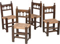 Furniture : Continental, Four Spanish Baroque-Style Post Chairs in the Moorish Taste, 17thcentury or later. 35-1/2 h x 16-3/4 w x 14 d inches (90.2 ...(Total: 4 Items)