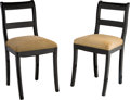 Furniture : Continental, Two Biedermeier-Style Ebonized Wood Chairs. 34 h x 16-1/2 w x 17-1/2 d inches (86.4 x 41.9 x 44.5 cm). PROPERTY FROM THE R... (Total: 2 Items)