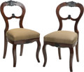 Furniture : Continental, A Pair of Rococo Revival Mahogany Side Chairs. 34-1/2 h x 17 w x 16d inches (87.6 x 43.2 x 40.6 cm). PROPERTY FROM THE RI... (Total: 2Items)