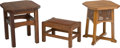 Furniture : American, A Pair of American Arts & Crafts Oak Low Tables with Stool .Marks to one stool: (THE WORK OF L&JG STICKLEY label). 18 h x1... (Total: 3 Items)