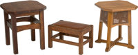 A Pair of American Arts & Crafts Oak Low Tables with Stool Marks to one stool: (THE WORK OF L&JG STICKLEY la...