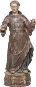 Decorative Arts, Continental:Other , A Spanish or Portuguese Carved and Polychromed Wood Monk Figure,18th-19th century. 33-1/2 h x 14-1/2 w x 10 d inches (85.1 ...