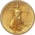 High Relief Double Eagles, 1907 $20 High Relief, Flat Rim, MS66 PCGS....
