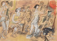 Gen Paul (American, 1895-1975) Dancing Watercolor and pastel on paper laid on board 19-1/4 x 26 i