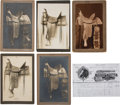 Western Expansion:Cowboy, Western Saddles: Five Exceptional Studio Photos, Circa 1890s,Boudoir Cabinet Card Size....