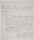 Western Expansion:Cowboy, Judge Roy Bean: Rare Handwritten and Signed Document....