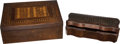 Antiques:Decorative Americana, Pair of Marquetry Inlay Wooden Boxes.... (Total: 2 Items)