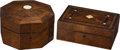Antiques:Decorative Americana, . Pair of Marquetry Inlay Wooden Boxes.. ... (Total: 2 Items)