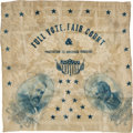 Political:Textile Display (pre-1896), Harrison & Morton: A Rare Silk Bandana with a Great Slogan....