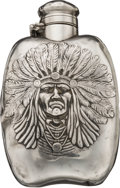 Advertising:Breweriana, Fine Sterling Silver Unger Bros. Whiskey Flask with High-ReliefImage of an Indian Chief. ...