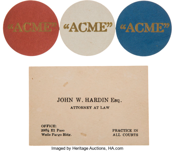 John wesley hardin an original business card three lot 43265 miscellaneousgaming chips john wesley hardin an original business card amp three reheart Image collections