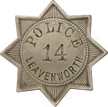 Western Expansion:Cowboy, Early Police Badge from Leavenworth, Kansas....