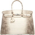 "Luxury Accessories:Bags, Hermes 35cm Matte White Himalayan Nilo Crocodile Birkin Bag withPalladium Hardware. T, 2015. Condition: 1. 14""Wi..."