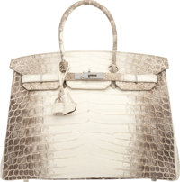 Hermes 35cm Matte White Himalayan Nilo Crocodile Birkin Bag with Palladium Hardware T, 2015 Condi
