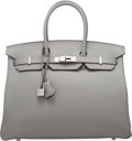 Luxury Accessories:Bags, Hermes Limited Edition 35cm Gris Mouette & Blue Agate Togo Leather Verso Birkin Bag with Palladium Hardware. X, 2016. ...
