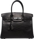 Luxury Accessories:Bags, Hermes Limited Edition 30cm Matte So Black Nilo Crocodile BirkinBag with PVD Hardware. N Square, 2010 . Condition:2...
