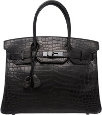 Hermes Limited Edition 30cm Matte So Black Nilo Crocodile Birkin Bag with PVD Hardware N Square, 2010 <