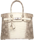 Luxury Accessories:Bags, Hermes 30cm Matte White Himalayan Nilo Crocodile Birkin Bag with Palladium Hardware. R Square, 2014. Condition: 1. ...