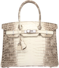 Hermes 30cm Matte White Himalayan Nilo Crocodile Birkin Bag with Palladium Hardware R Square, 2014 <