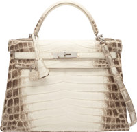 Hermes 32cm Matte White Himalayan Nilo Crocodile Retourne Kelly Bag with Palladium Hardware R Square, 2014<