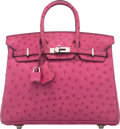 "Luxury Accessories:Bags, Hermes 25cm Fuchsia Ostrich Birkin Bag with Palladium Hardware. I Square, 2005. Condition: 1. 10"" Width x 8"" Heigh..."