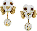 Estate Jewelry:Cufflinks, Enamel, Gold Cuff Links, David Webb The ram's ...