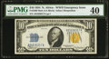 Small Size:World War II Emergency Notes, Fr. 2308 $10 1934 Mule North Africa Silver Certificate. PMGExtremely Fine 40.. ...
