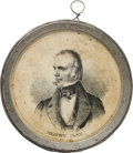 """Political:3D & Other Display (pre-1896), Henry Clay: Scarce 1844 Campaign """"Pewter Rim,"""" with George Washington on the Reverse...."""