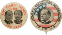 William McKinley: Pair of Scarce Buttons from 1896