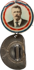 Political:Pinback Buttons (1896-present), Theodore Roosevelt: Colorful Picture Pin with Rough Rider Hat Charm....