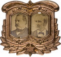 Political:Ferrotypes / Photo Badges (pre-1896), Cleveland & Hendricks: Most Unusual Cardboard Jugate....